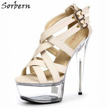 Sorbern 18Cm Cross Straps Chunky Platform Heels Sandals Women Size 10 Shoes British Style Women Buckles Back Super High Heels(China)
