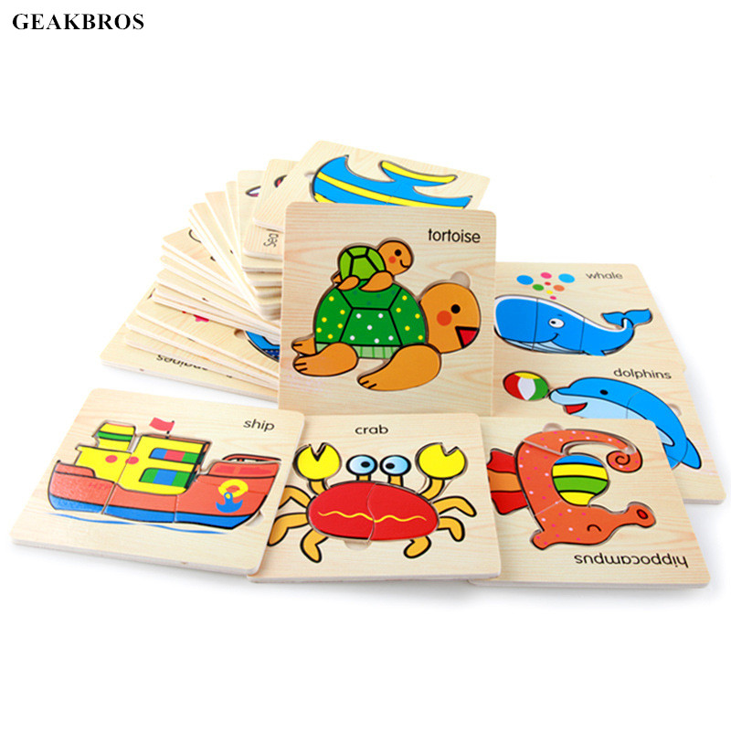 Baby 3D Puzzle Jigsaw Wooden Toys Kids Early Educational Cartoon Hand Grasp Wooden Puzzles Toy Animal Children Christmas Gift