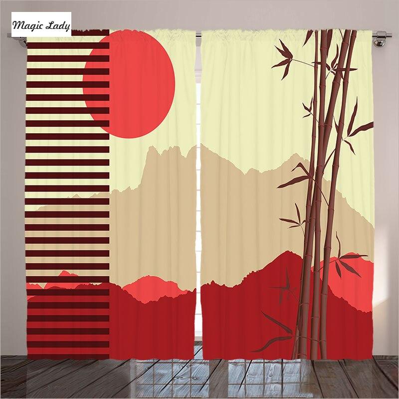 Rideaux Style chinois salon Oriental levant soleil montagnes ...