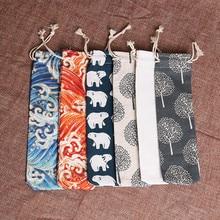 50PCS/Lot Straw Bags 7*25cm Portable Pouch Chopsticks Spoon Tableware Bag Portable Pockets Reusable Metal Straw Bag