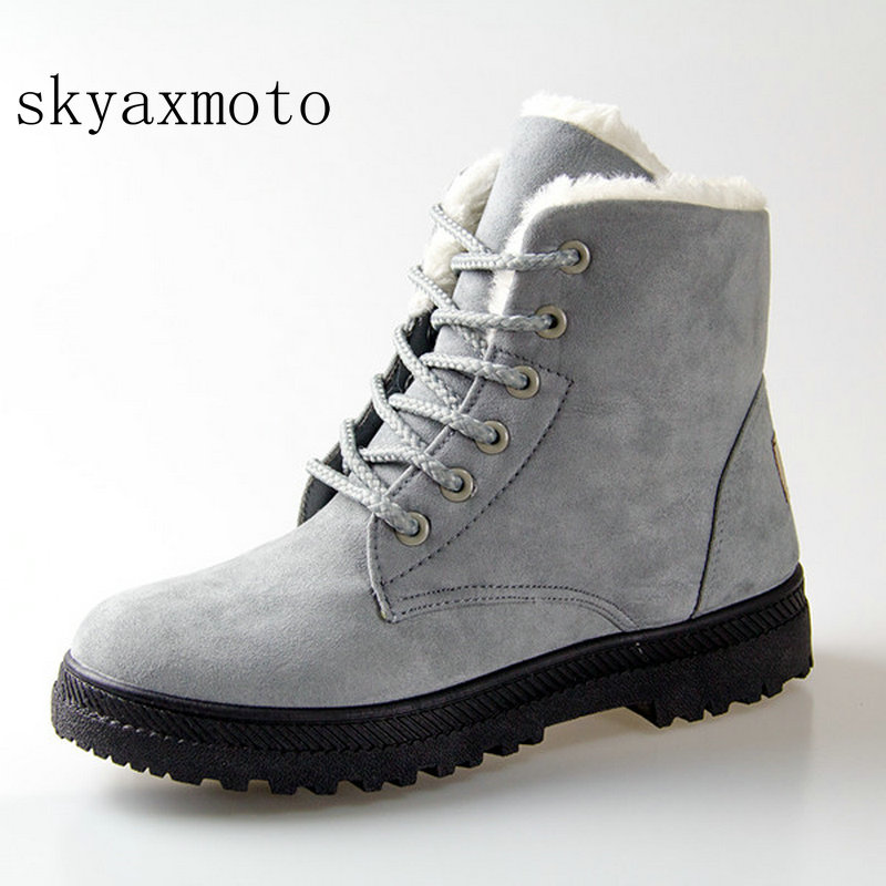 Lovely Snow Boots 2018 New Classic Heels Suede Women Winter Boots Warm Fur Plush Insole Ankle Boots Women Shoes Hot Lace-up Shoes Woman An Indispensable Sovereign Remedy For Home