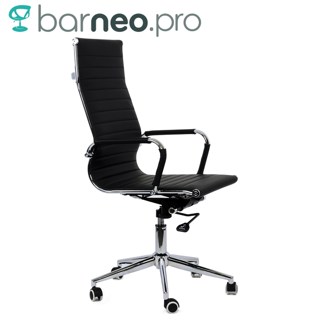 95173 Black Office Chair Barneo K 110 Eco Leather High Back Chrome Armrests With