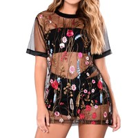 2017 Women Sexy Mini Dress Vintage Mesh Embroidery Patchwork Casual Loose Dresses Short Sleeve O Neck Beach Vestidos Long Tops