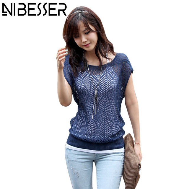 NIBESSER Female Knitting Tops Summer Short Sleeve Pullover Sweater ...
