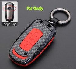 Z włókna węglowego samochodów klucz pokrywa dla Geely Atlas Boyue NL3 Emgrand X7 EmgrarandX7 EX7 SUV GT GC9 borui samochód zdalnie sterowany samochód etui na klucze w Etui na kluczyki samochodowe od Samochody i motocykle na