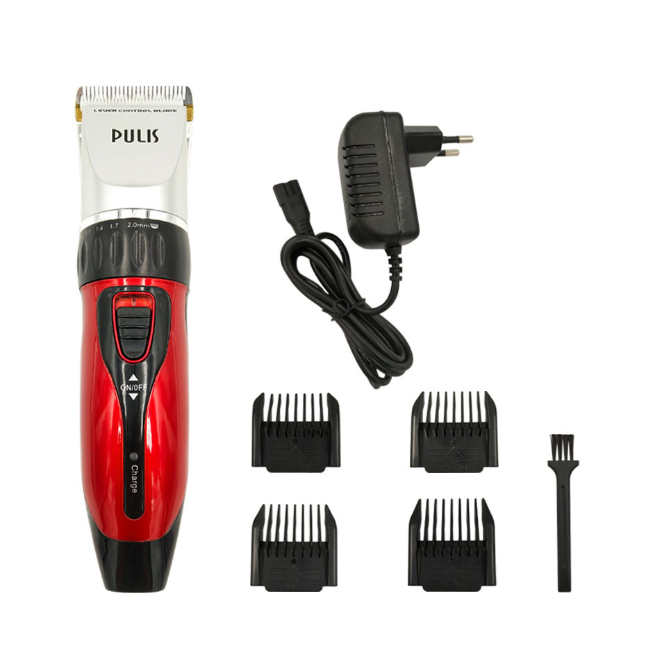 PULIS Professional Hair Clipper 100-240V Rechargeable Electric Hair Trimmer Home Barber Haircut Machine with 4 Limit Combs Tool