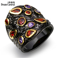 DreamCarnival1989 Red Crystal Chunky Jewelry Color Zircon stones rings Black Gold color Lady Unique Design Cocktail Rings R14