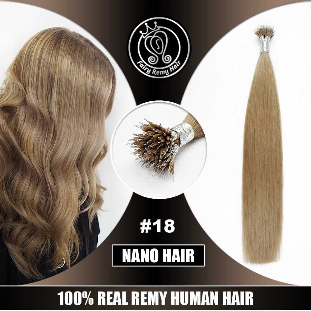 Nano Hair Extensions Keratin Micro Beads Real Remy Hair On Capsule Dark Ash Blonde #18 0.8g/s 40g 16-22 Inch Fairy Remy Hair