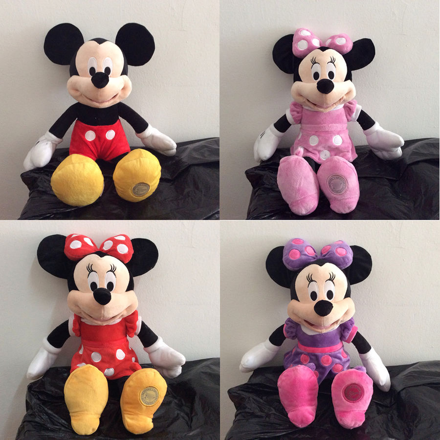 Free Shipping 1pcs Mickey Mouse Clubhouse Stuffed animals Doll Mickey and 3 colors Minnie Mouse Kids Soft Doll for Birthday
