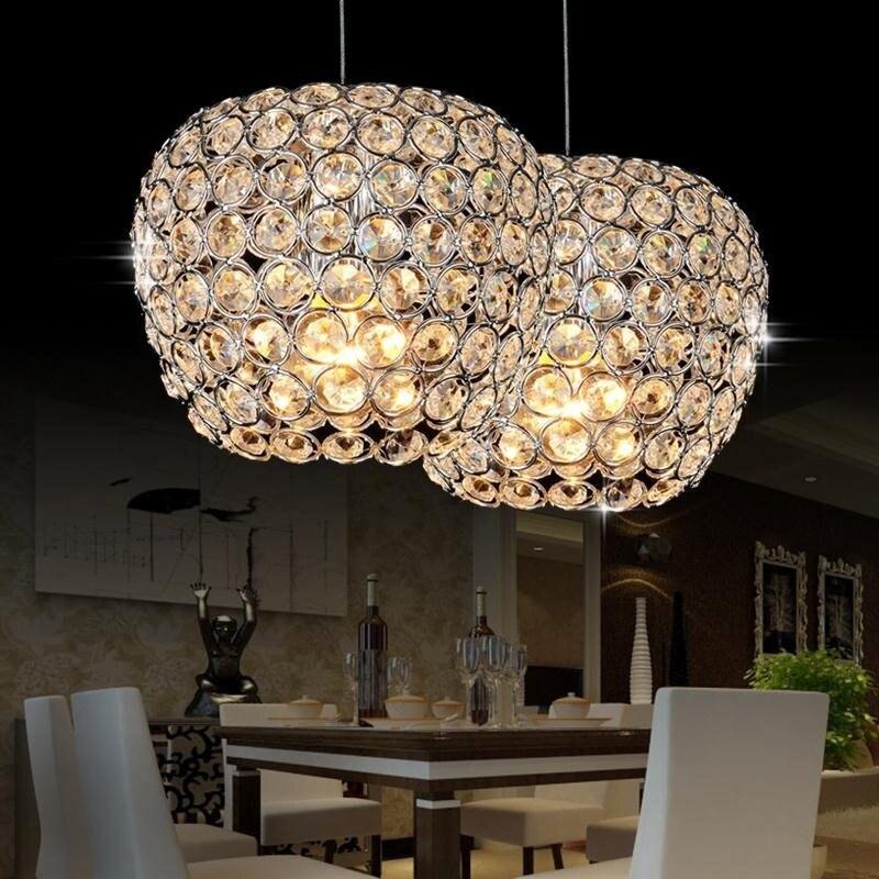 Modern Chrome Lustre Apple Modeling LED Crystal Pendant Lighting Crystal Lamp E27/26  Lighting Fixture Pendant Ceiling Lamp