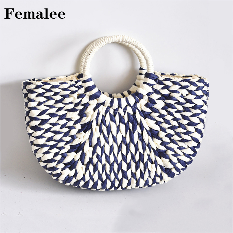 FEMALEE Pastoral Half Moon Top-Handle Woven Straw Bags Women Braided Handmade Totes Round Handle Big Rural Japan Style Handbags