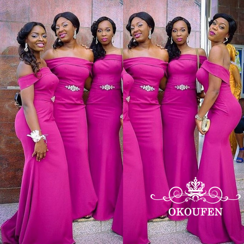 2018 Fuchsia Mermaid   Bridesmaid     Dresses   Silver Beads Waist Off Shoulder Sexy African Women Long Party   Dress   Wedding Formal Gowns