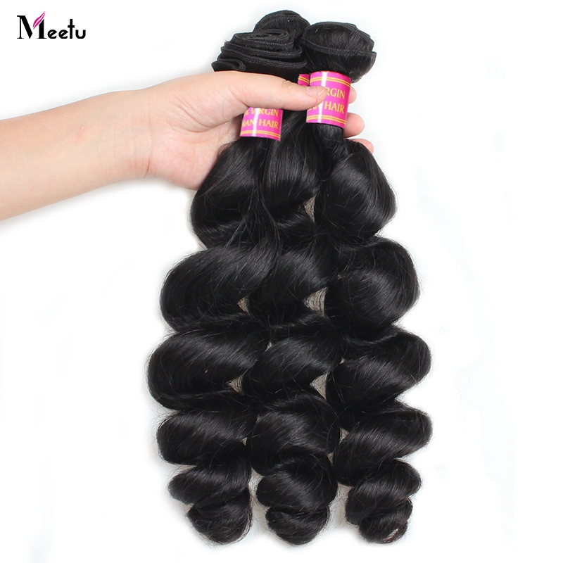 Meetu Indian Loose Wave Hair Weave Bundles 1 3 4 Bundles 100% Human Hair Weave Non Remy Hair Natural Color Hair Extensions