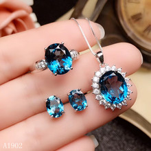 KJJEAXCMY boutique jewels 925 sterling silver inlaid natural gemstone blue topaz ladies ring necklace pendant earrings set suppo kjjeaxcmy fine jewelry 925 sterling silver inlaid natural topaz gemstone female pendant ring earrings set to send necklace suppo