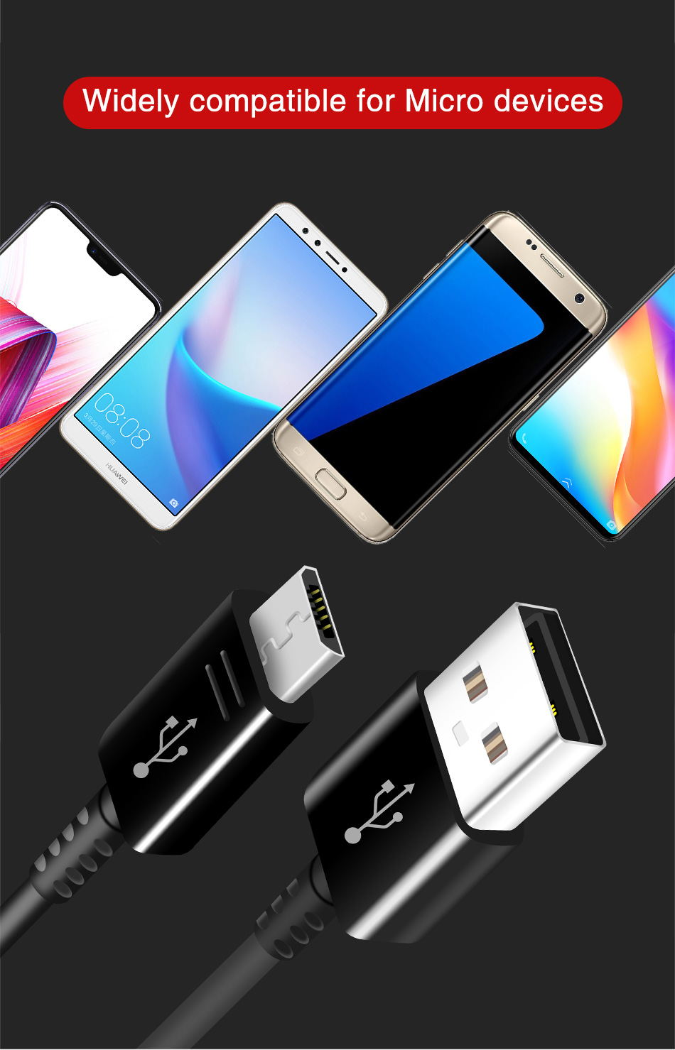 8Fast Charging Data Cables Adaptieve for Samsung S6 S7edge Original Fast Charging 2A 1.2m Micro USB Android Cable Note2 Note4_
