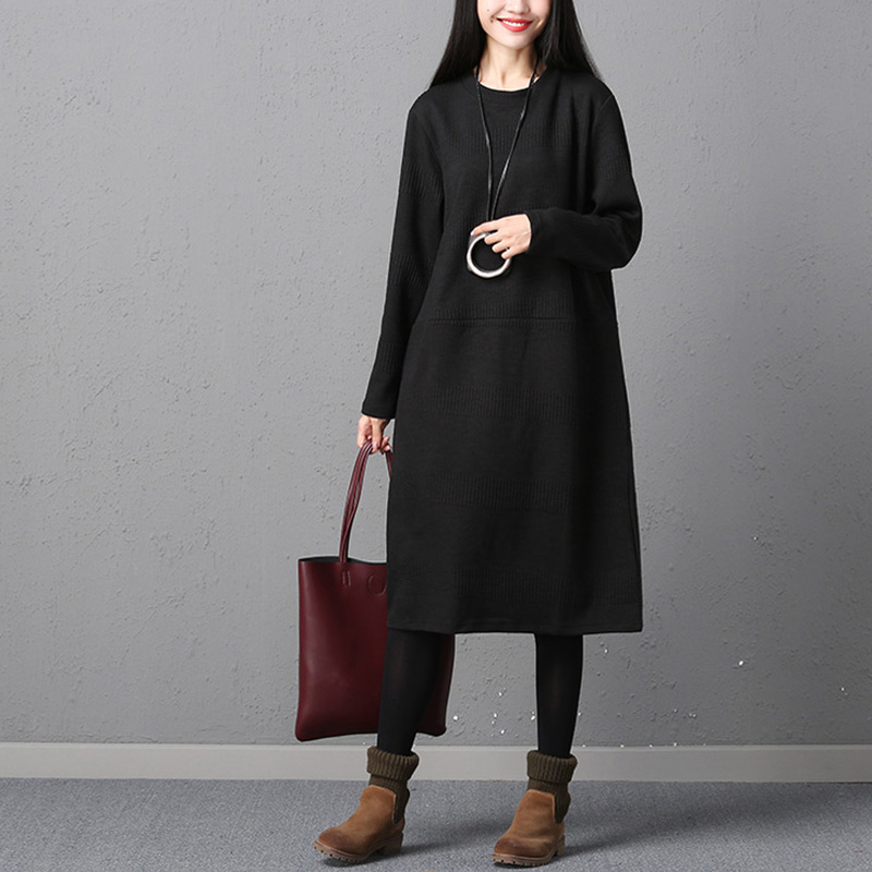 Vestidos 2018 Spring Winter Padded Sweater Dress Women Vintage Knitted Long Sleeve Dress Casual Loose Dresses Plus Size Jumper plain loose long sleeve plus size dress