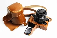 Novo Luxo PU LEATHER Video camera case bag para Fujifilm FUJI XT1 X-T1 16-50 MM Com Alça Aberta bateria de 3 Cores