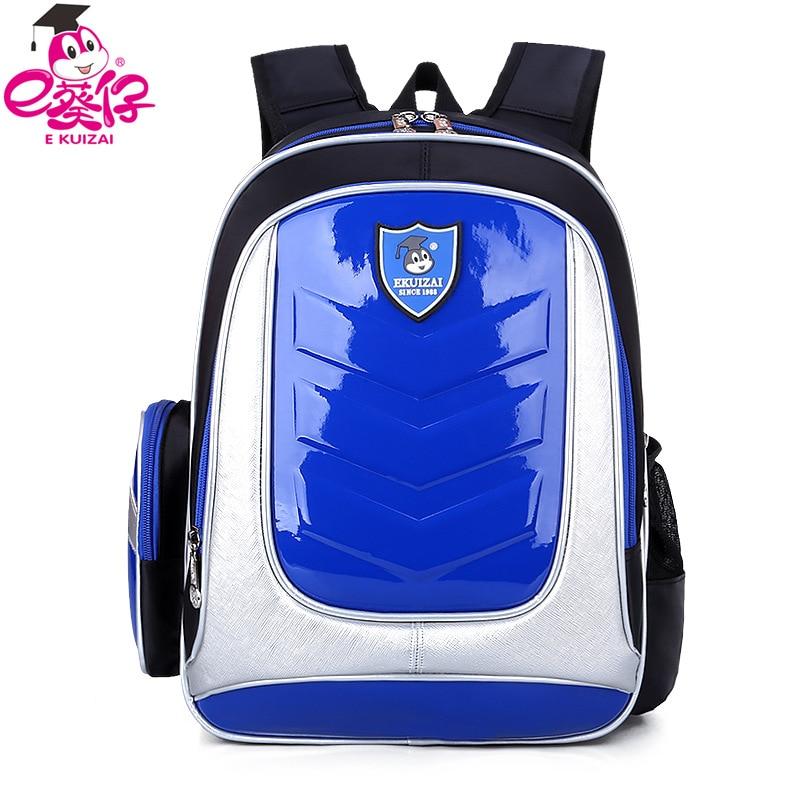 E- KUIZAI New 2016 Leather Backpack Orthopedic School bags For Boys/girl PU Waterproof Backpack Child Kids School bag