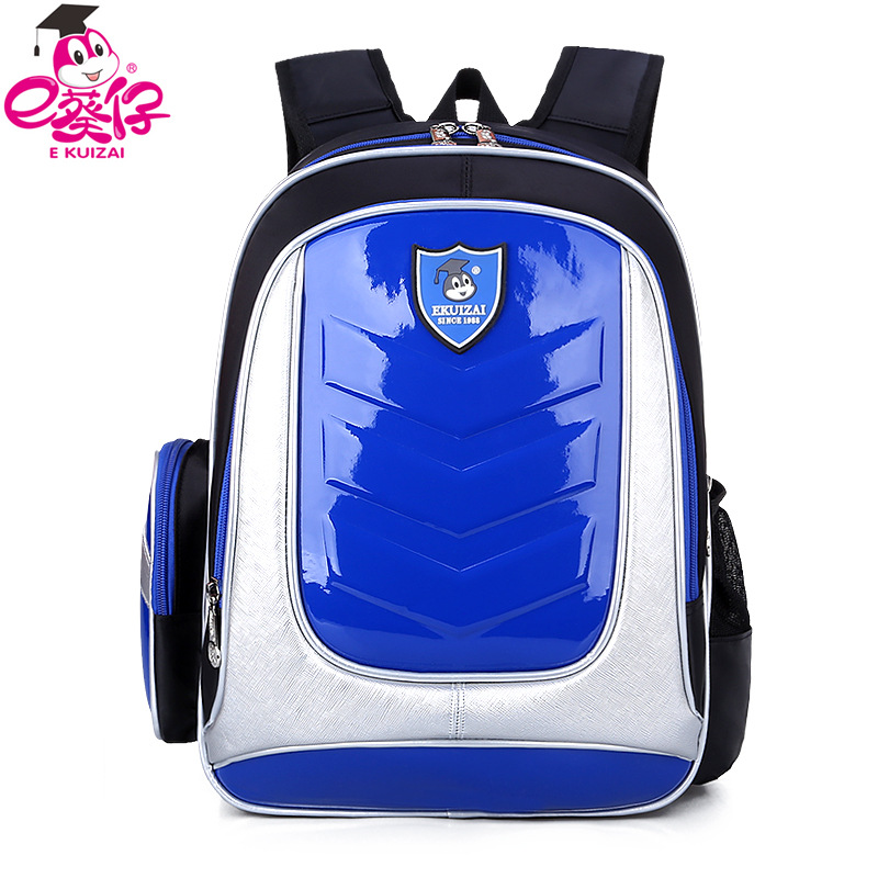 E KUIZAI New 2016 Leather font b Backpack b font Orthopedic School bags For Boys girl