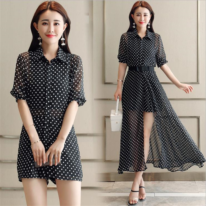 New Wave Asymmetrical Office Work 2018 Summer Chiffon Suits Fashion Loose Playsuits+ Split Skirt De Festa Chic Longo Sets CM2845 2