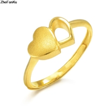 1Pcs Gold Color Love Interlocked Gold Heart Wedding Ring Engagement Rings  For Women Fashion Jewelry(