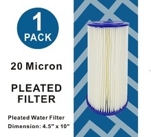 20 Micron - High Flow Whole House Sediment Pleated Filter Cartridge, Washable 10 L x 4-1/2 OD Big Blue Cartridges