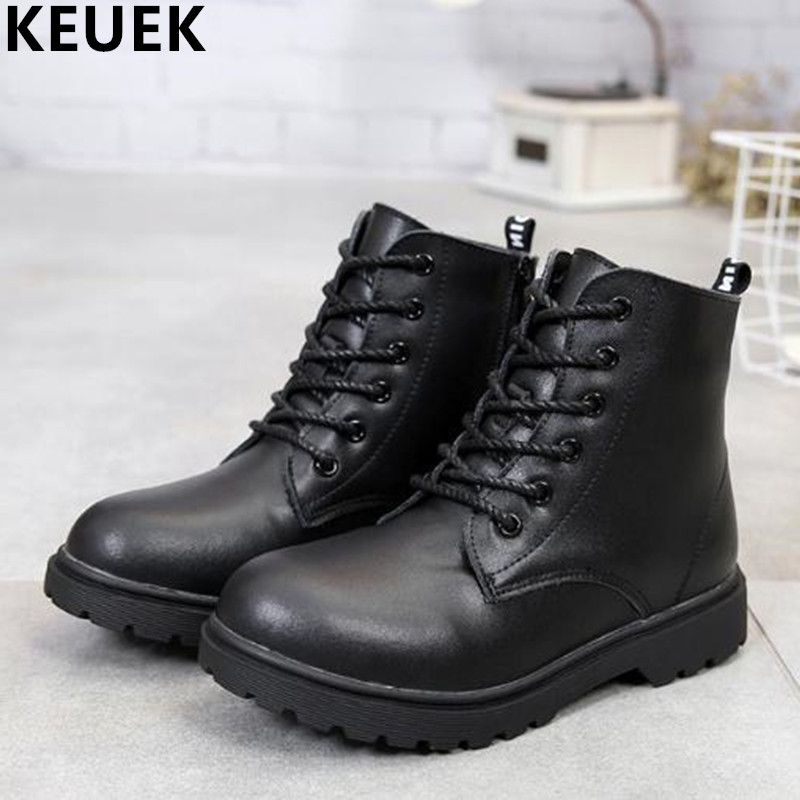 NEW 2017 Children Genuine leather Martin boots Lace-Up shoes Autumn Winter Kids waterproof Snow boots Boys Girls Ankle boots 03B new 2015 botas infantil pu leather boys girls rubber boots for children martin boots kids snow boots sneakers hot item