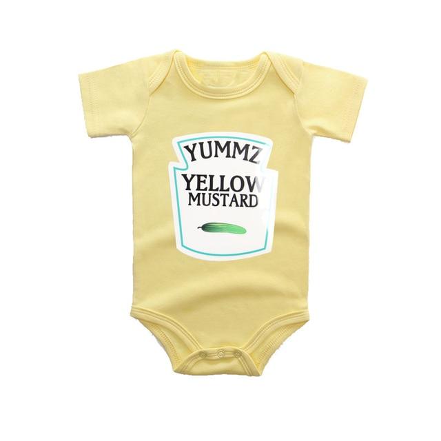 42b142a021b4 Culbutomind Yummz Yellow Mustard Yellow Baby Bodysuit Cute Funny ...