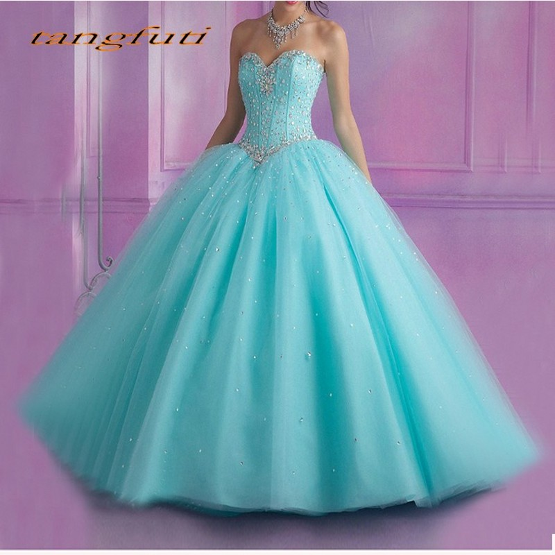 Light Blue Quinceanera Dresses Sweet 16 Ball Gowns Beaded Crystal Sleeveless Vestidos De 15 Anos Debutante