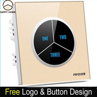 Free Shipping 3 Gangs 2 Way Black Tempered Glass Touch Wall Light Switch Free Customize Button