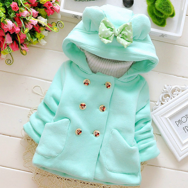 Baby Girls Jacket Newborn Autumn Tops Kids Warm Coat Infant Ear Hoodies Cotton bebe Outerwear Children Clothing for .