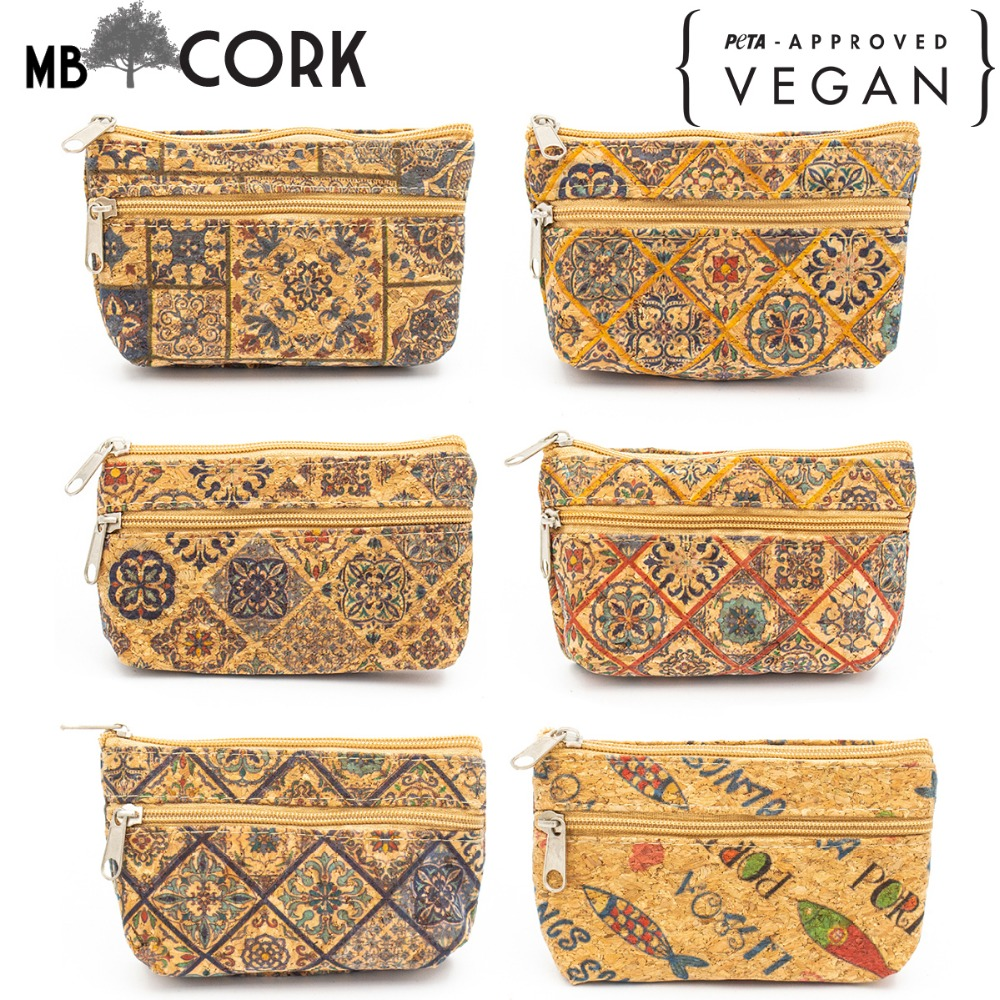 From Portugal Natural Cork Purse With Color Printing Handmade Coin Purse Coin Bag Vegan Cork Wallet Wooden Vintage BAG-403