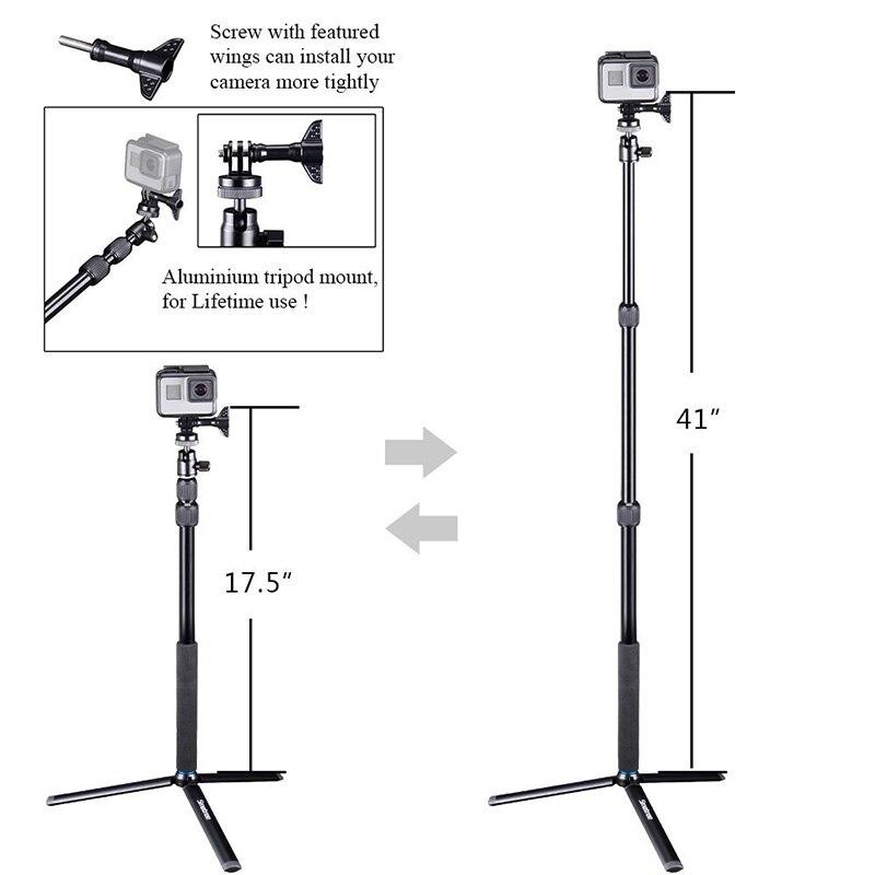 Smatree bâton de Selfie télescopique avec trépied support pour GoPro Hero 7/6/5/4/3 + caméras, Ricoh Theta S, OSMO Mobile 2/DJI OSMO Action - 5