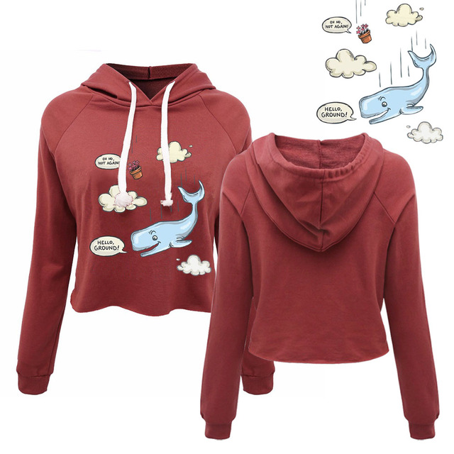 korean style women whale magic escape Women s Funny Cropped Hoodies Cute  Japanese Tumblr Clothing Ladies Pullovers 9775fb9df5