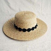 Chapeau de soleil pour femmes, chapeau de bateau en paille à large bord élégant, noir et blanc, chapeau de plage plat pour vacances, Derby déglise