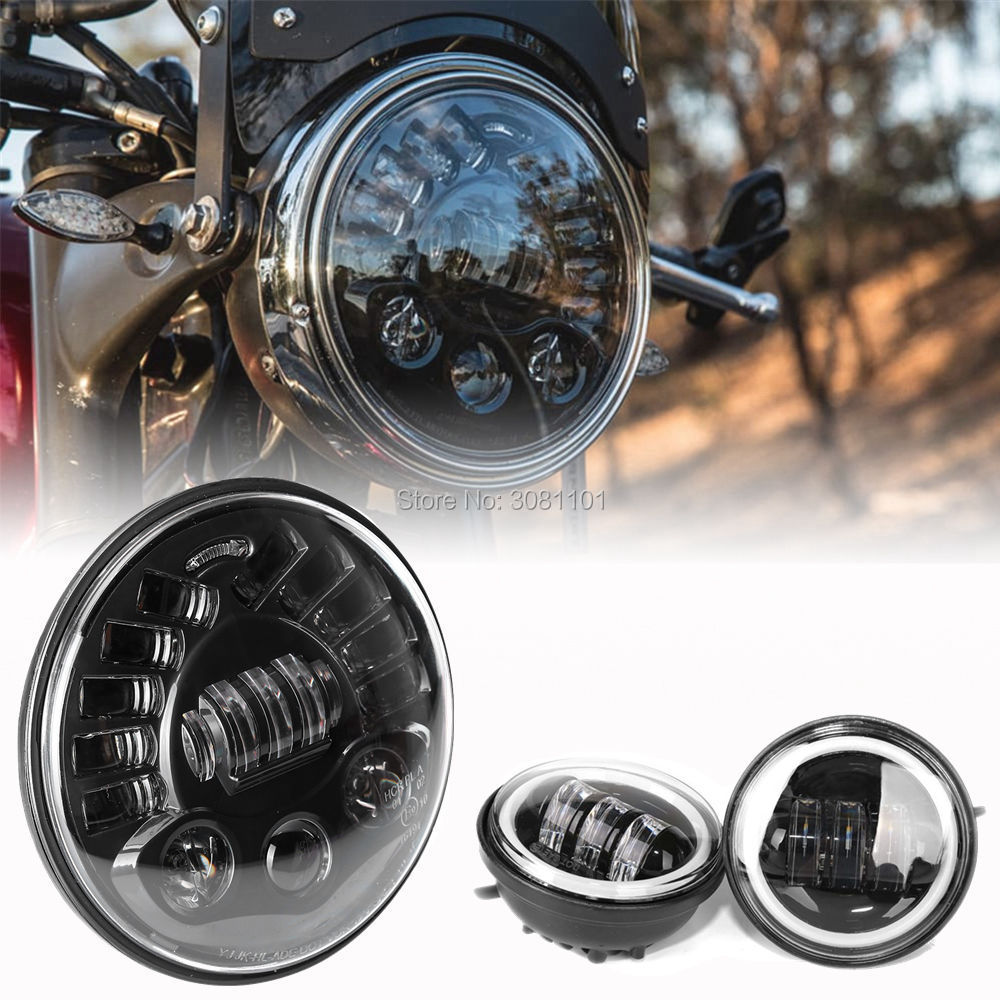 7 inch 70W Headlight with White DRL Yellow Turn signal lamp+4.5 Fog Lamp Projector Daymaker for 1956 Harley-Davidson Hummer vosicky 7 inch led headlight drl turn signal angel eyes daymaker for harley davidson sportsters xl xg xr vrscd dyna motorcycle