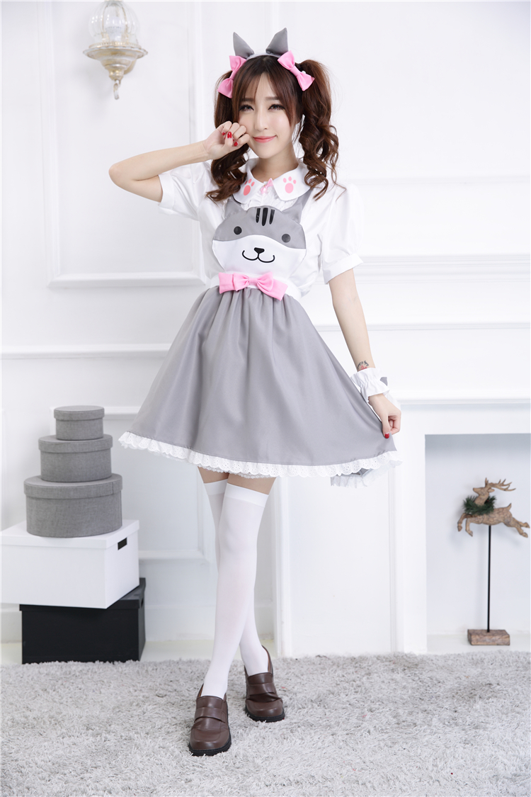 Country Women Cosplay Dress Short Sleeves with Cat Patterns