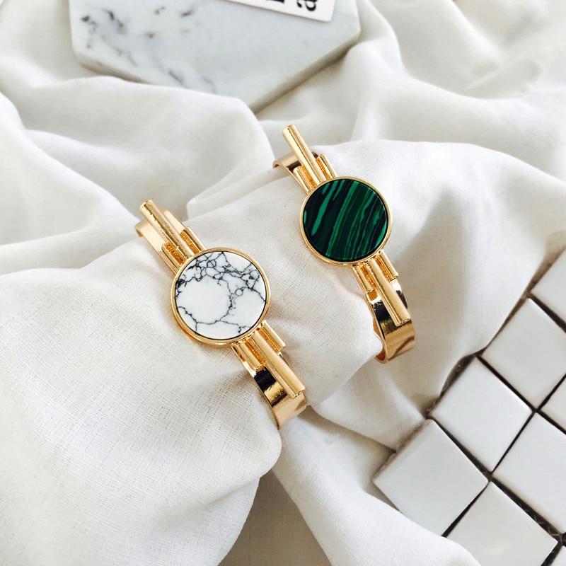 Delicate mouth bracelet stone inlay bracelet white hoard of malachite green stone black stone grain retro bracelet