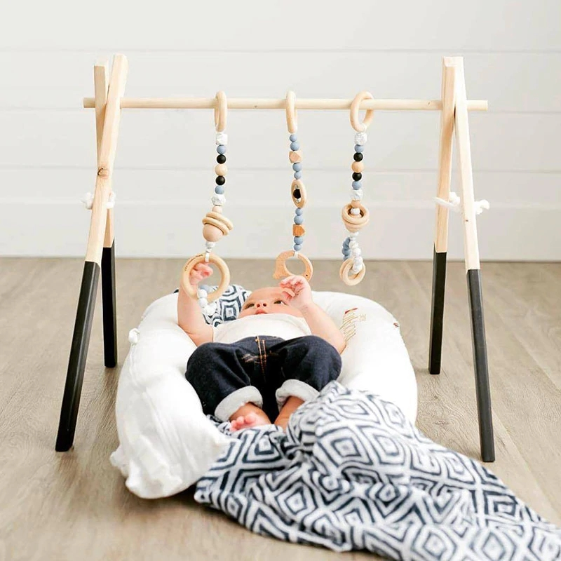Us 27 86 Nordic Wood Wooden Furniture Play Gym Frame Toys Baby Rattles Kids Room Nursery Decor Accessories Newborn Photography Props In
