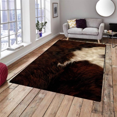 Else Brown White Cow Animal Fur 3d Pattern Print Non Slip Microfiber Living Room Decorative Modern Washable Area Rug Mat Carpet