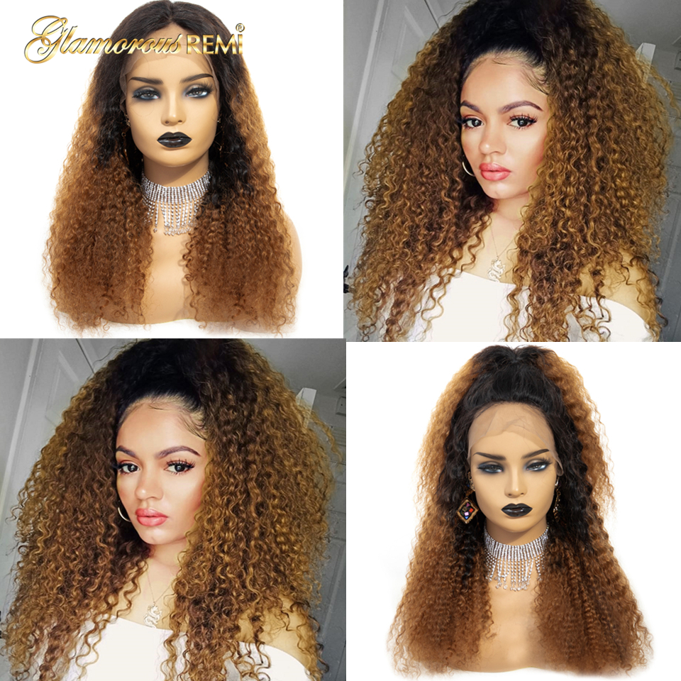 13*6 Peruvian Glueless Kinky Curly Lace Front Human Hair Wigs For Women Bleached Knots With Baby Hair Colored Ombre 1b 30 Wig