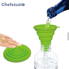 ФОТО drop shopping silicone folding portable funnels be hung tools collapsible  funnel for liquid transfer silicone oil funnel