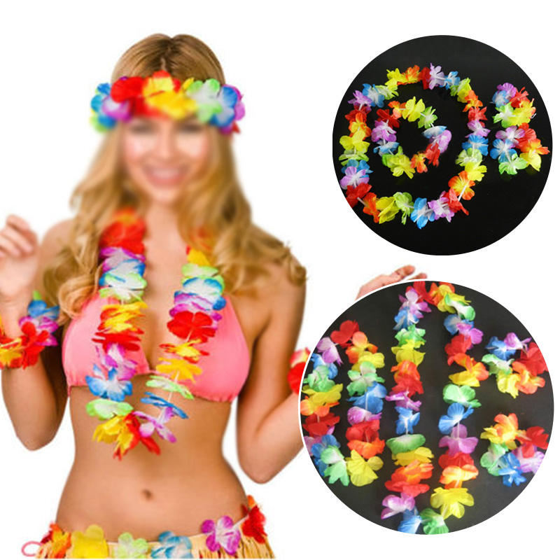 4Pc Hawaiian Artificial Flowers Garland Necklace Fancy Dress Wedding Hawaii DIY Party Beach Garden Decoration Christmas Wreath