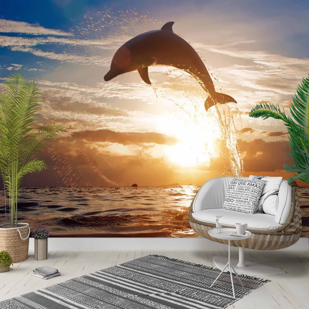Else Sun Set Sea Jumping Dolphins Fish 3d Print Photo Cleanable Fabric Mural Home Decor Living Room Bedroom Background Wallpaper