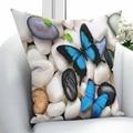Чехол для подушки с 3D-принтом Else  серый  коричневый  черный  белый  галька  синяя бабочка  квадратная скрытая молния  45x45 см