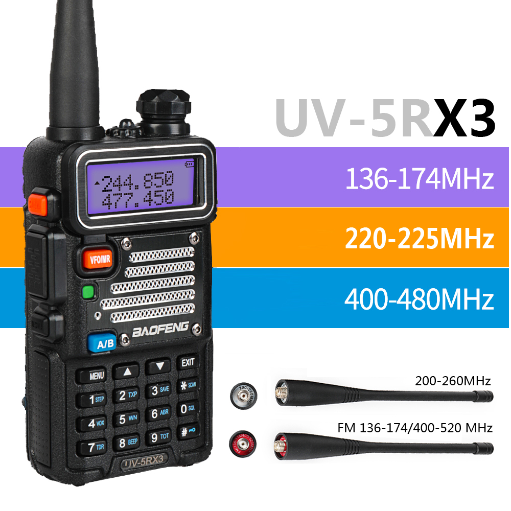 Baofeng UV-5RX3 Tri-bande 136-174/220-225/400-520 + 2x antenne 5 W tricolore LCD Portable talkie-walkie Radio bidirectionnelle jambon