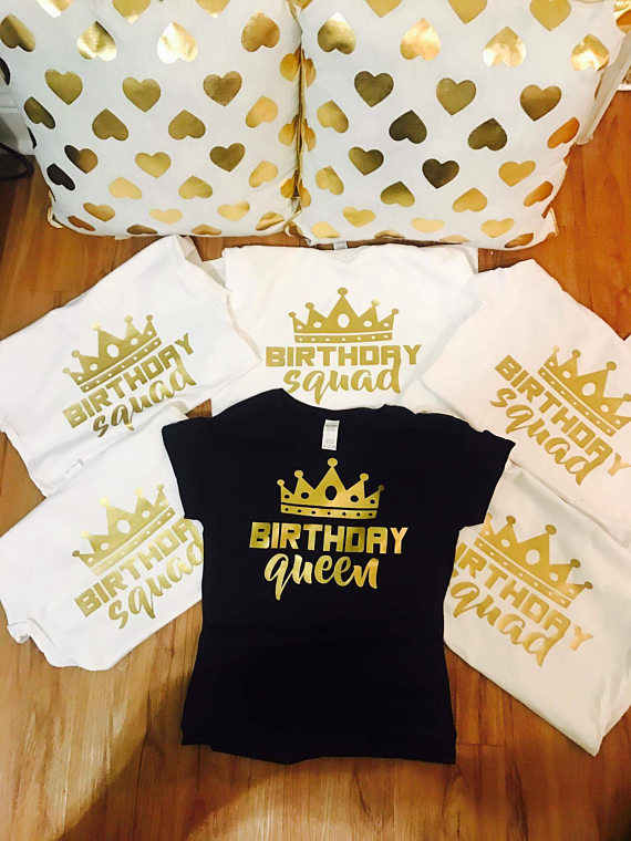 3e60396f6 t shirt tshirt women cute groot birthday squad queen gold cute cotton  crewneck party shirts gift
