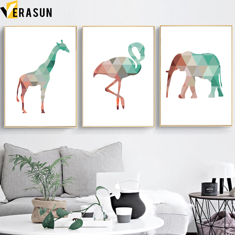 Us 3 3 50 Off Abstract Geometry Giraffe Flamingo Elephant Wall Art Canvas Painting Nordic Posters And Prints Wall Pictures For Kids Room Decor In