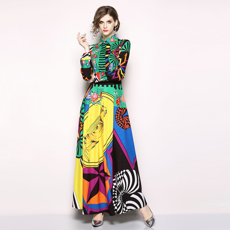 Wholesale women's 2018 temperament lapel fashion long form dress slim long sleeved printed large dress