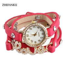 Brand New Watches Women Brand Gold Heart Luxury Leather Wristwatches Women Dress Bracelet Chain Bracelet Watch